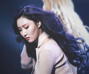 long black hair, mood, and stage image