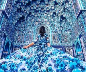 blue, dress, and travel image