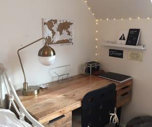 room, desk, and light image