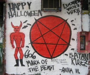 black and red, graffitti, and Halloween image