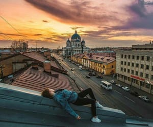buildings, roof, and girls image