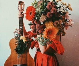 flowers, girl, and music image