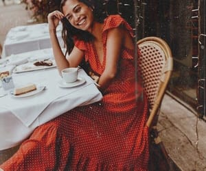 girl, outfit, and red dress image