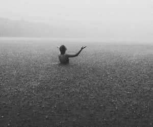 rain, sea, and black and white image