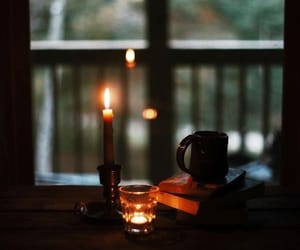 autumn, candle, and window image