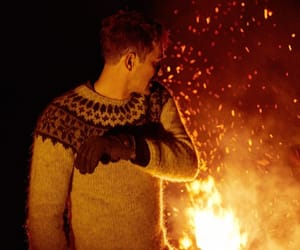 boy, fire, and man image