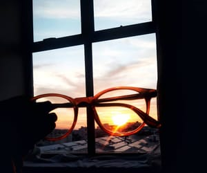 sunset, glasses, and sky image