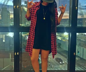 brunette, cool girl, and black cap image