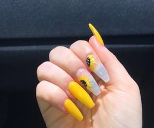 girls, nails, and yellow image