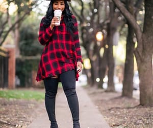 fall fashion, outfits, and flannel shirts image
