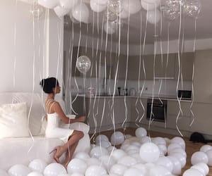 white, balloons, and birthday image