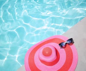 pink and blue, pool, and stripes image