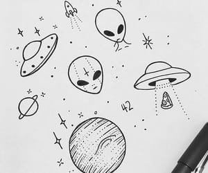 aliens, art, and doodles image