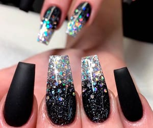 black, acrylic nails, and coffin nails image