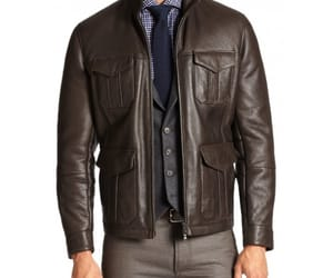 fashionable, men brown leather jacket, and men outwear image