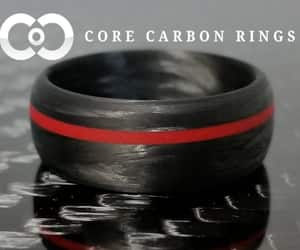 carbon fiber rings, carbon rings, and carbon silver ring image