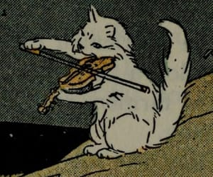 cat, violin, and illustration image