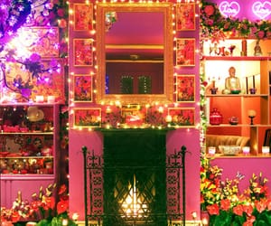 pink, room, and living room image