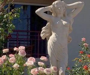 aesthetic, flowers, and statue image