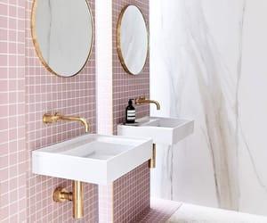 bathroom, pink, and interior image