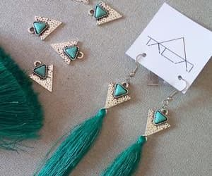 earrings, green, and ontrend image