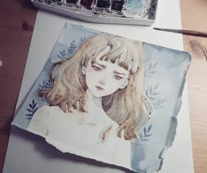 alone, girl, and watercolor image