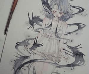 art, girl, and sadness image