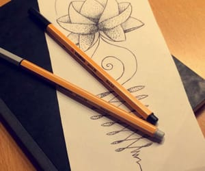 draw, flower, and drawing image