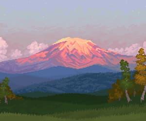 8 bit, mountain, and pixel image
