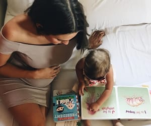 book, daughter, and family image