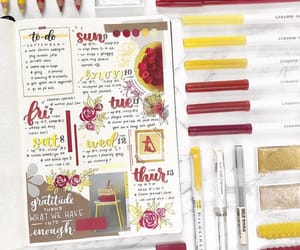 journaling, planner, and red image
