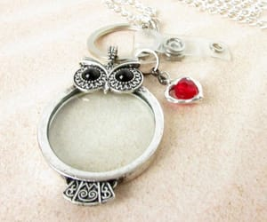 etsy, glass necklace, and owl necklace image