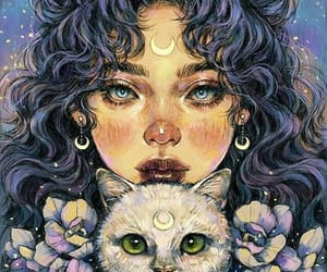 girl, art, and cat image