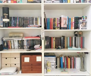 bookcase, books, and organization image