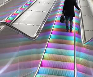 colors, stripes, and escalator image