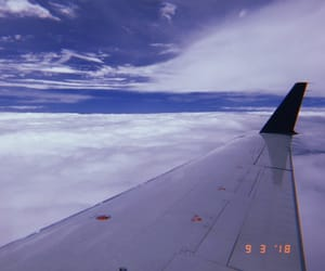 airplane, blue, and clouds image