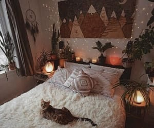 bedroom, cat, and autumn image