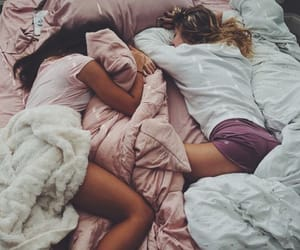 friends, bed, and morning image