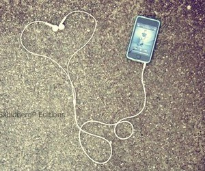 iphone, ear phone, and love image
