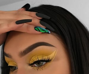 makeup, nails, and yellow image