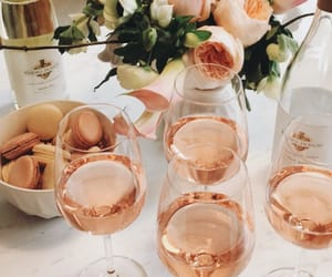 drink, flowers, and wine image