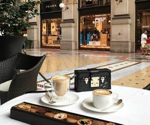 coffee, dessert, and Prada image
