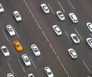 aerial photography, aerial view, and cars image