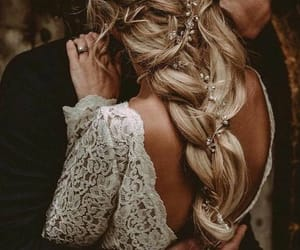 wedding, couple, and hair image