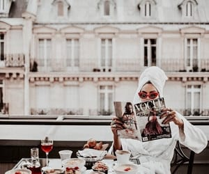 girl, vogue, and breakfast image
