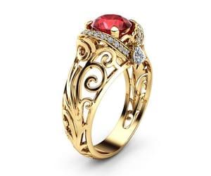 etsy, artdecoring, and ruby ring image