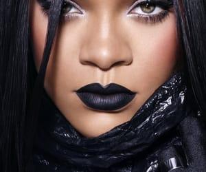 rihanna, black, and makeup image