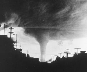 black and white, tornado, and dark image