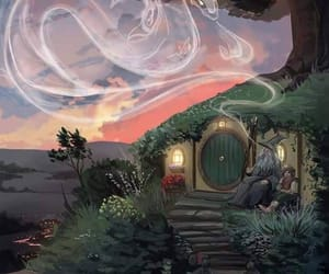 dragon, hobbit, and hobbit house image