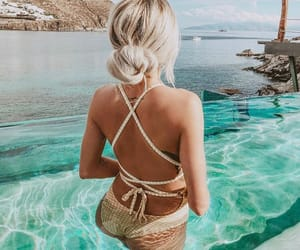 bath, blonde, and bun image